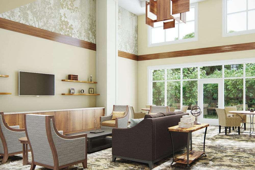 Bright lit and modern common area lounge in upscale senior living facility at The Springs at Sherwood in Sherwood, Oregon