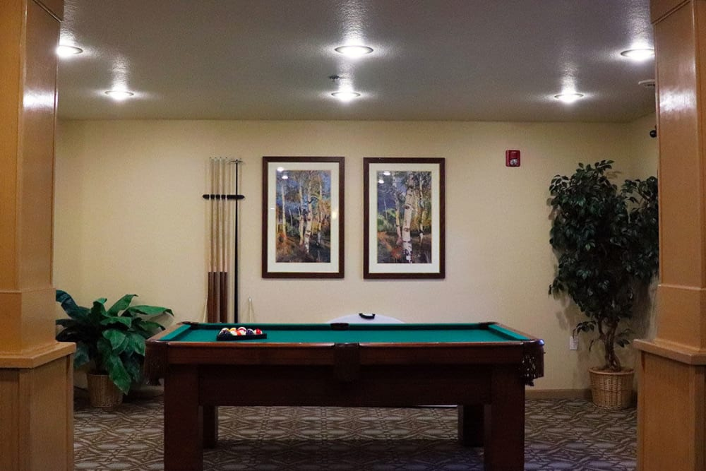 Deluxe game room complete with billards table at The Springs at Sunnyview in Salem, Oregon
