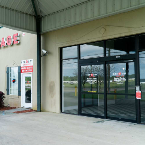 Entrance to the rental center at Red Dot Storage in Ponchatoula, Louisiana