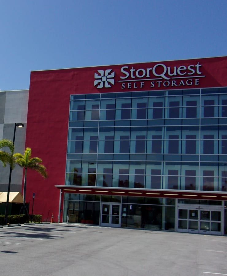 The exterior of the main entrance at StorQuest Self Storage in North Miami, Florida