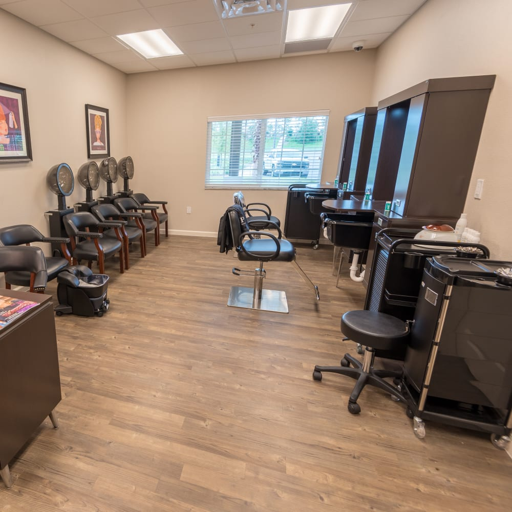 onsite hair salon at Inspired Living Lewisville in Lewisville, Texas.