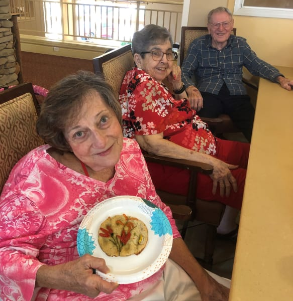The Oaks residents pose with their fresh backed focaccia!