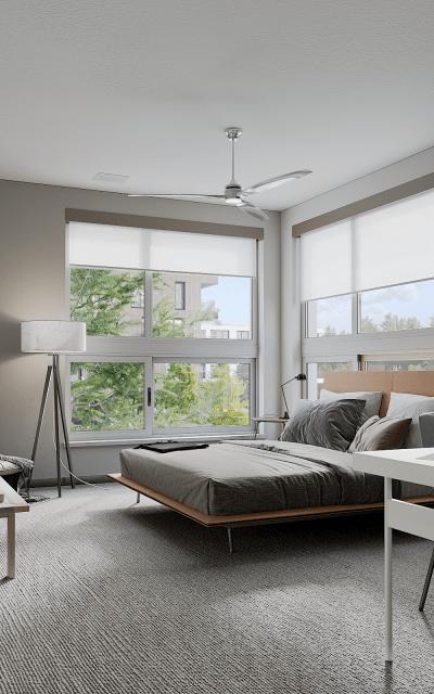 Spacious stunning master bedroom at Solana Stapleton Apartments in Denver, Colorado