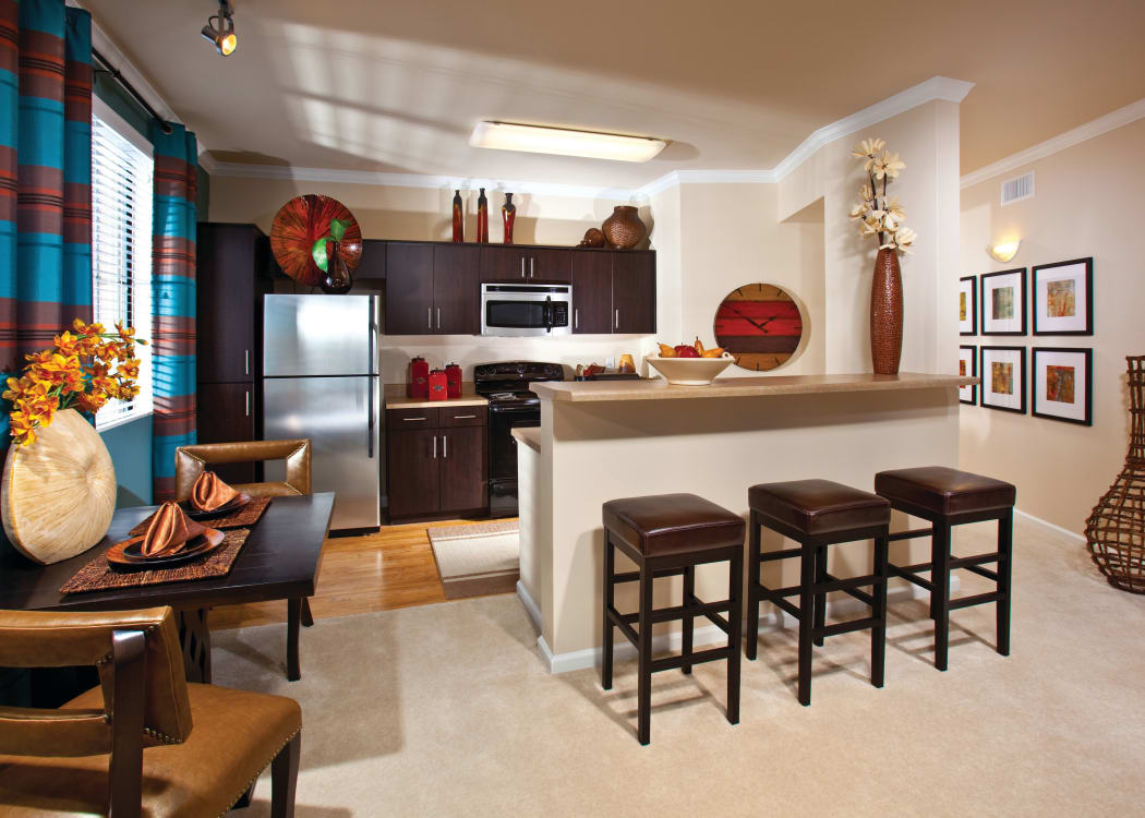 Spacious kitchen with breakfast bar at Mountain Gate & Mountain Trails in Las Vegas, Nevada