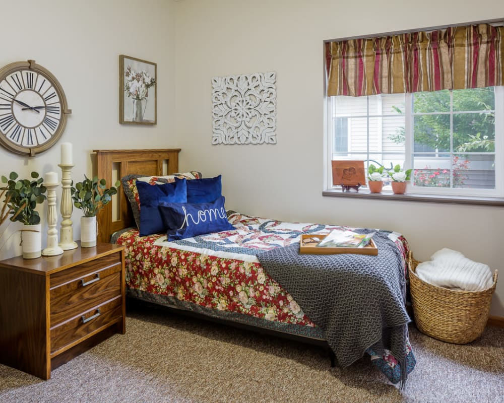 Cozy memory care studio at Glenwood Place in Marshalltown, Iowa.