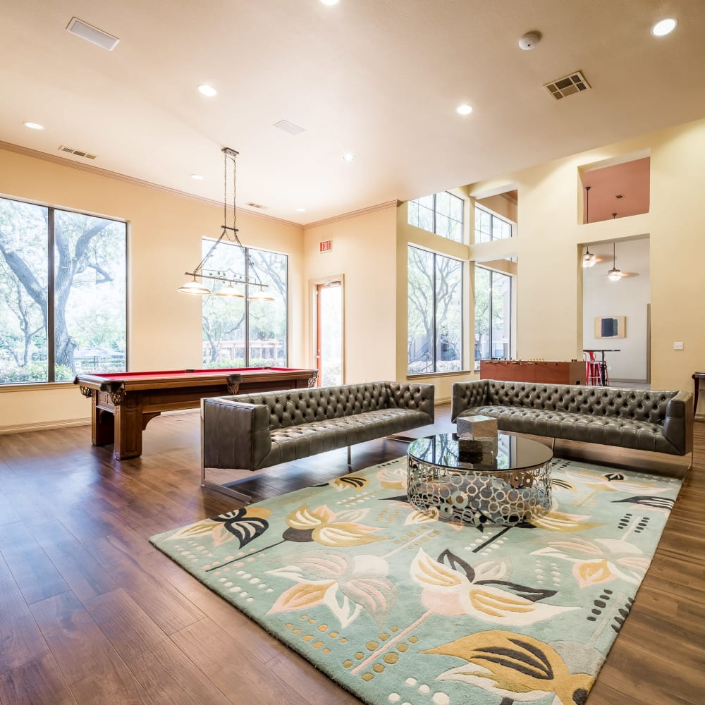 Billiards table in the clubhouse at Arbrook Park Apartment Homes in Arlington, Texas