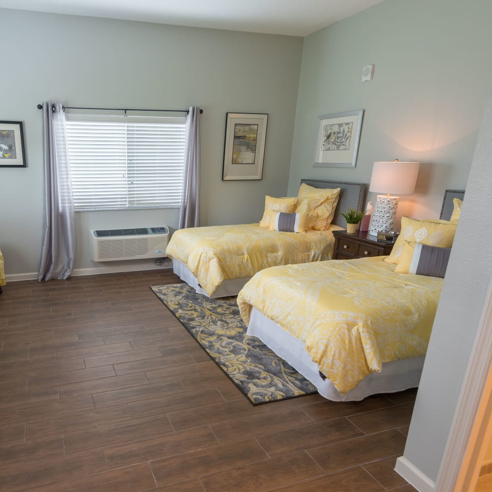 A companion room you will share with another resident at Inspired Living Tampa in Tampa, Florida