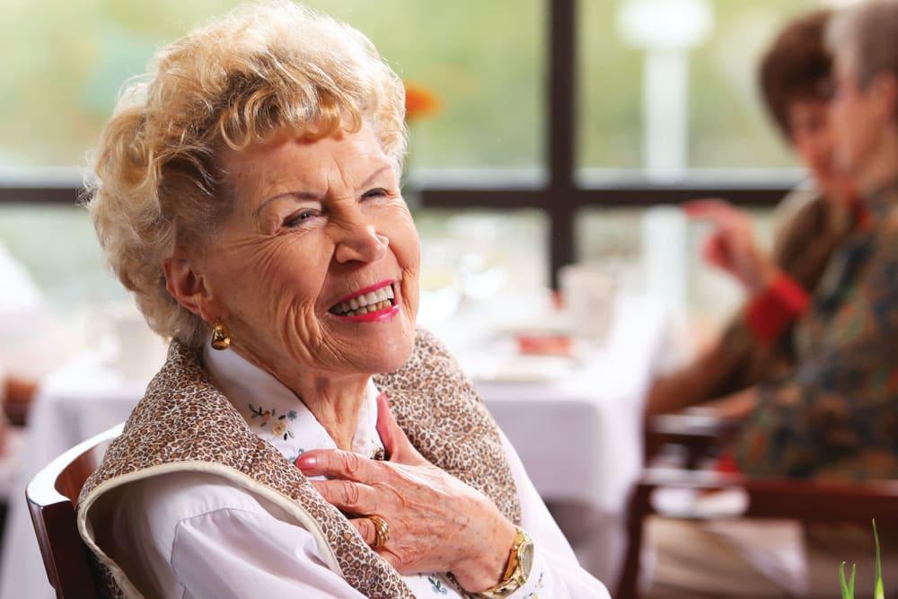 Cheerful female resident at Brookstone Estates of Robinson in Robinson, Illinois
