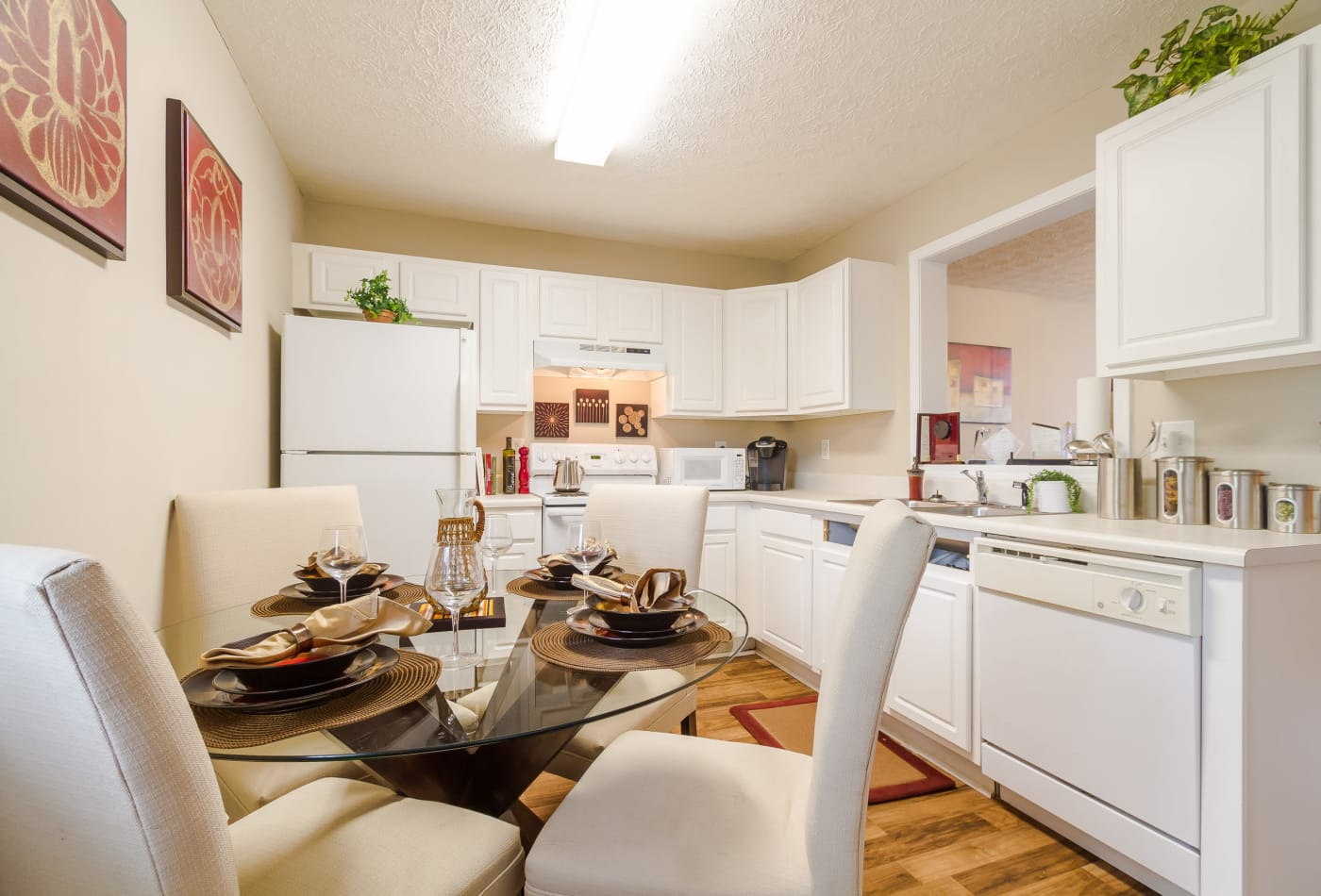 Dining room and kitchen at Mount Olive Townhomes in Commerce
