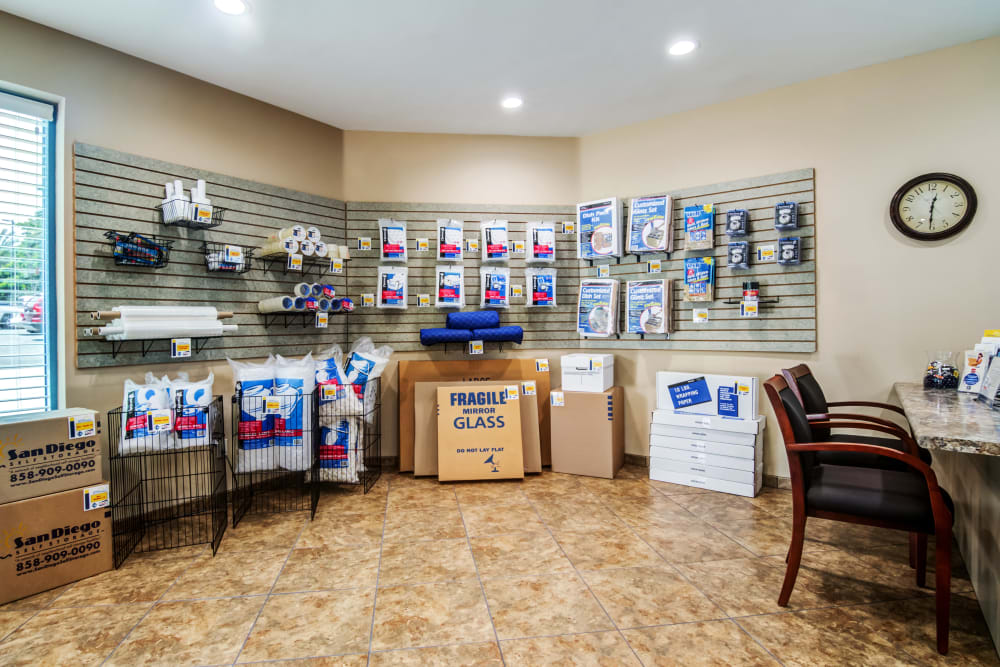 Packaging and moving supplies at Carlsbad Self Storage in Carlsbad, CA