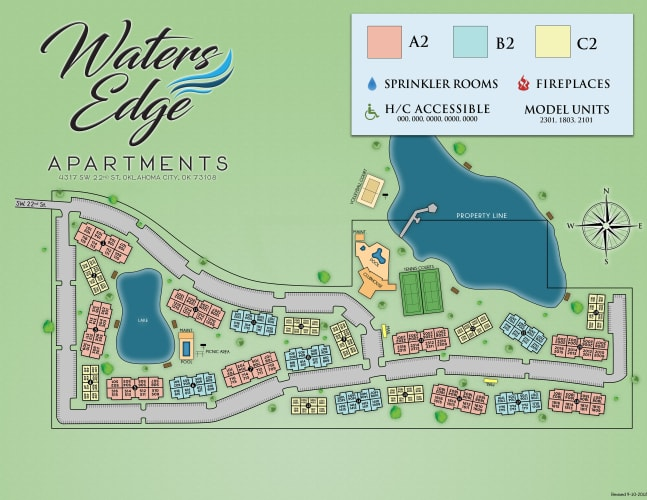 Site map for Waters Edge in Oklahoma City, Oklahoma