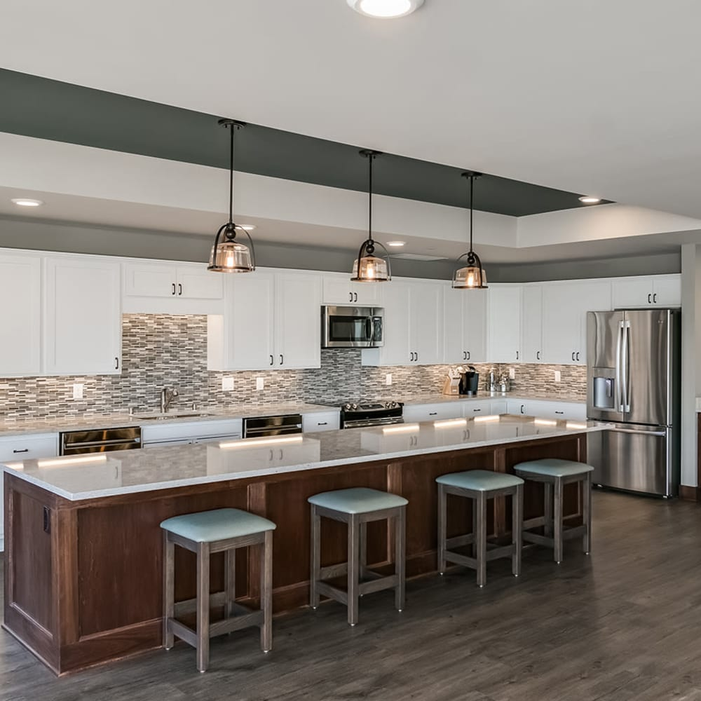 Community kitchen at Applewood Pointe Maple Grove at Arbor Lakes in Maple Grove, Minnesota.