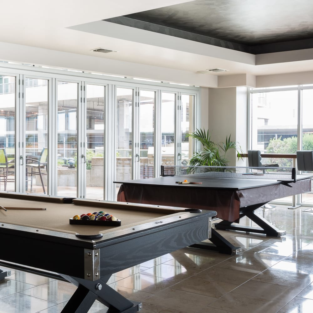 Billiards table at The Heights at Park Lane in Dallas, Texas