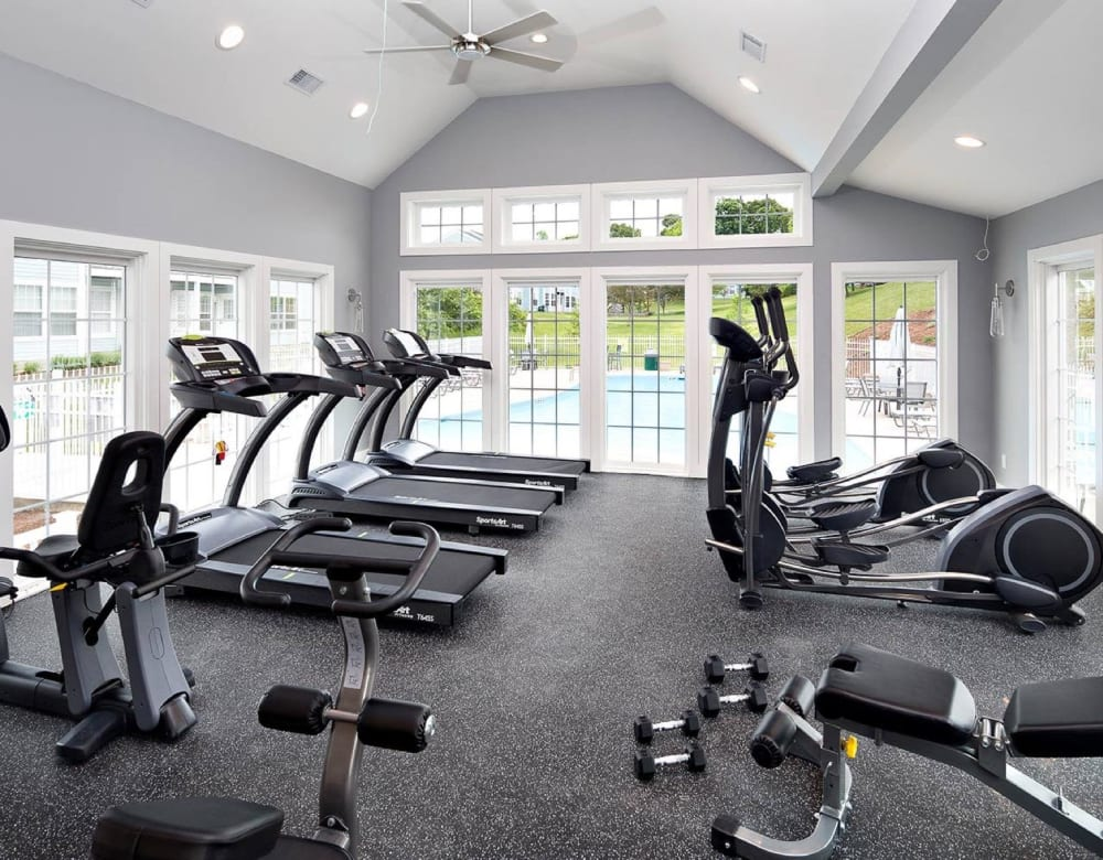 An onsite fitness center at Summit at Mill Ridge in East Haven, Connecticut
