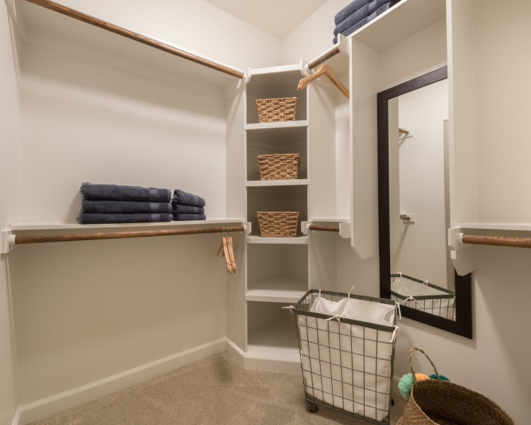 Huge oversized walk-in closet at Mercantile River District in Fort Worth, Texas