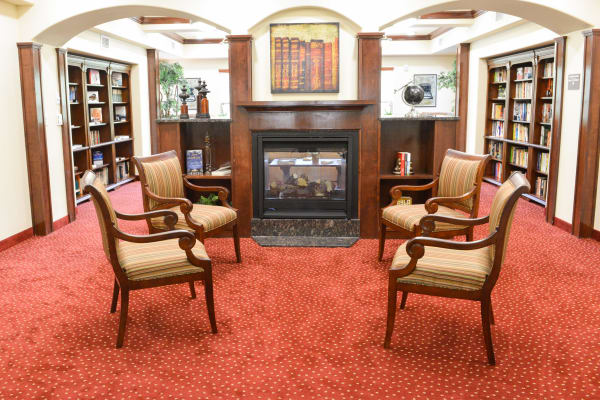 Fireplace lounge at Springwood Landing Gracious Retirement Living in Vancouver, Washington