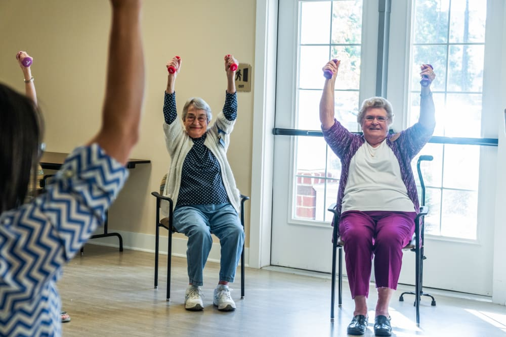 Residents exercising at Harmony at West Ashley in Charleston, South Carolina