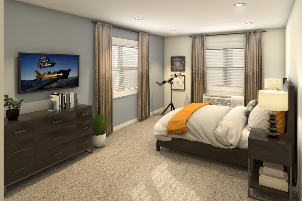 Resident bedroom with large windows at Anthology of Olathe in Olathe, Kansas