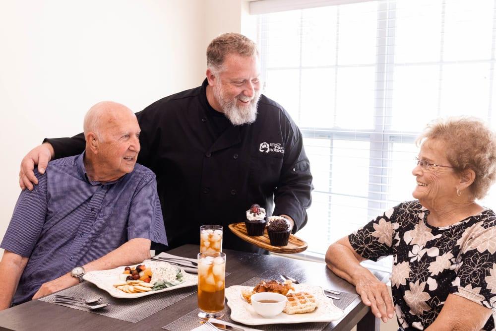 residents enjoying a meal