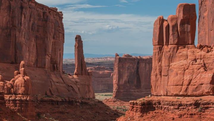 Pillars of Monument Valley near Olympus at the District in South Jordan, Utah