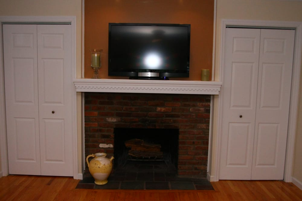 The fireplace will keep you warm during New Jersey winters