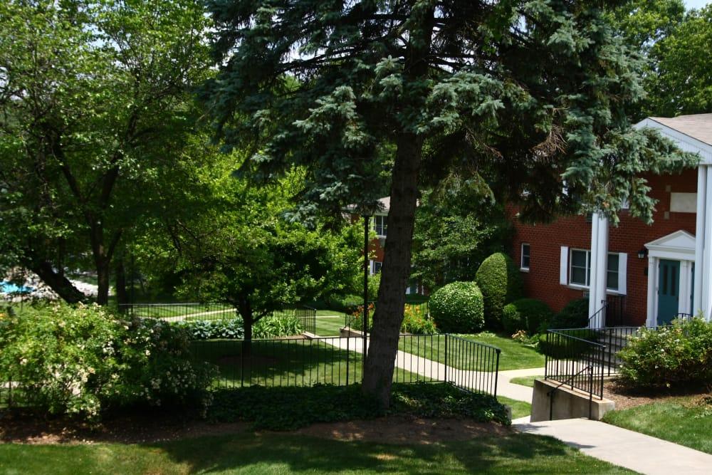 Walking paths outside Center Grove Village