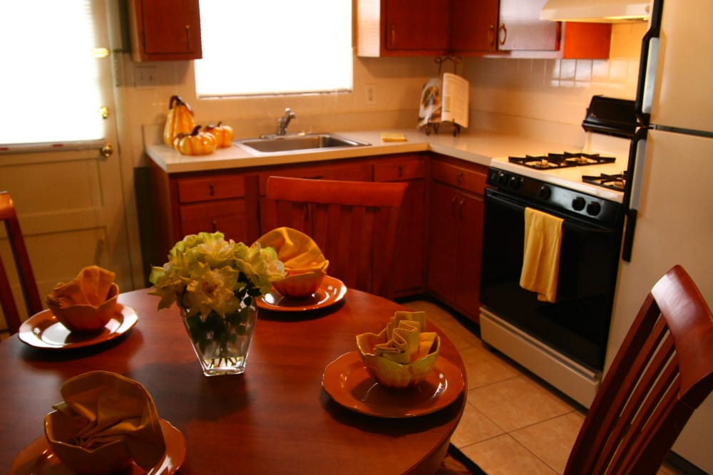Brookview Manor Apartments offers gas ovens, stainless steel sinks, and ample cabinetry
