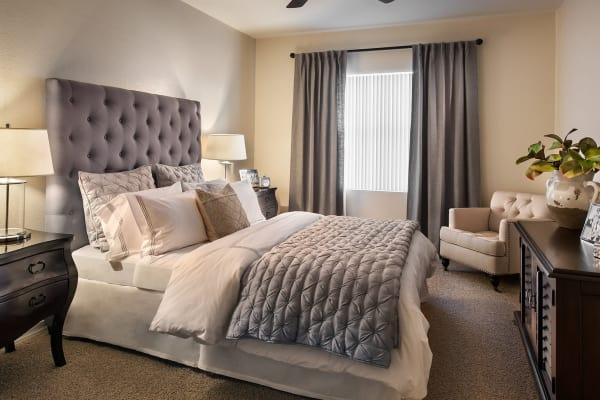 Well-decorated bedroom in model home at San Milan in Phoenix, Arizona