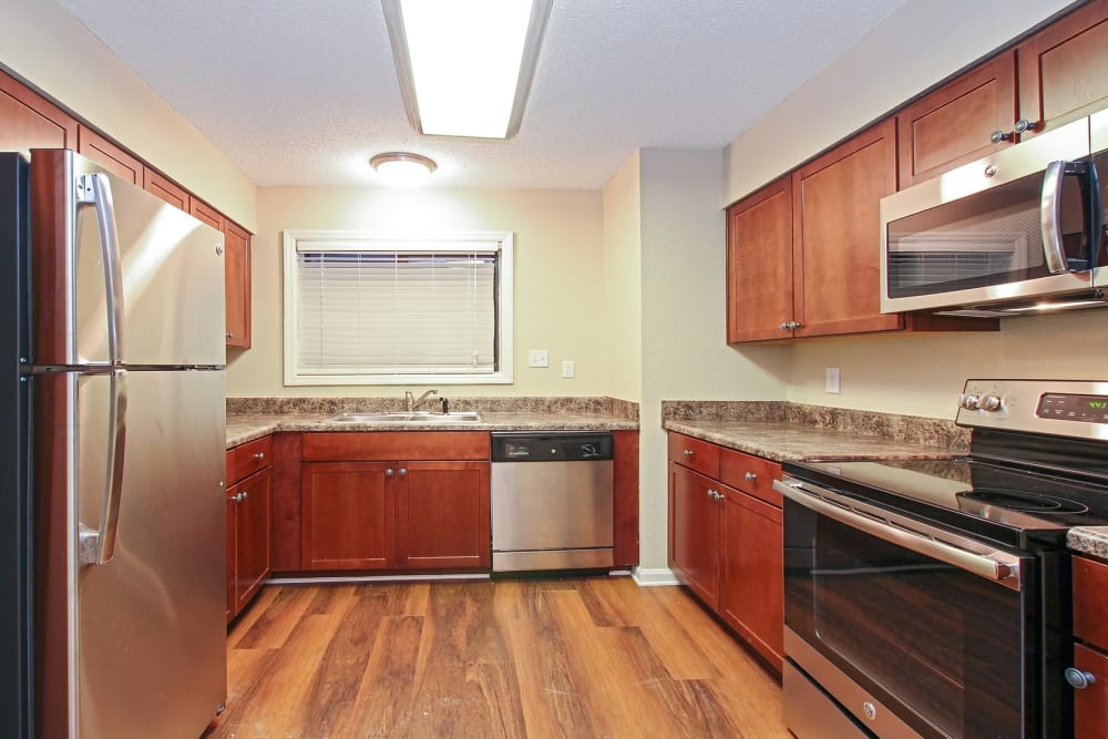 Kitchen at The Lodge on the Chattahoochee Apartments in Sandy Springs, GA