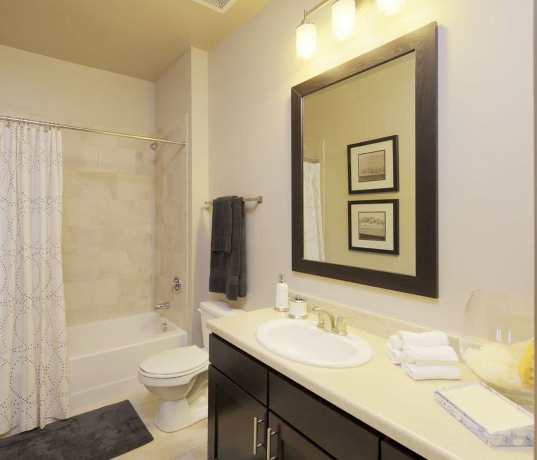 Bathroom with shower and tub at The District in Charlotte, North Carolina