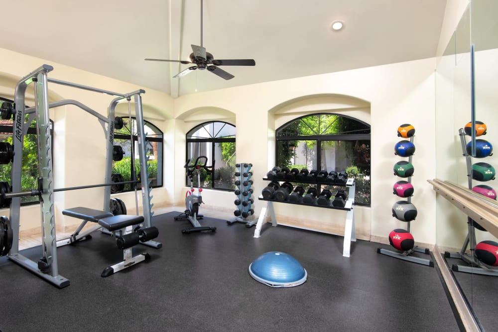 Free weights at San Antigua in McCormick Ranch in Scottsdale, Arizona