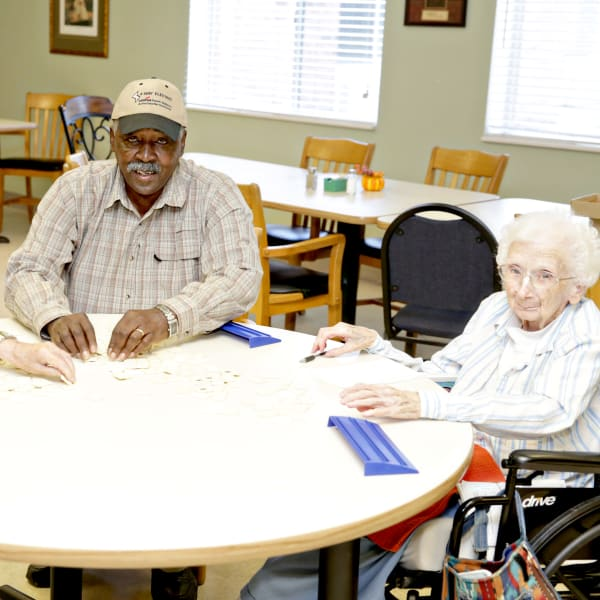 Residents playing a game at Providence Assisted Living.
