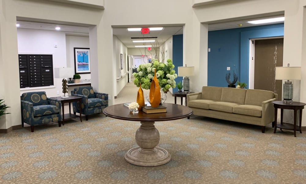 An entertainment room at Camellia Gardens Gracious Retirement Living in Maynard, Massachusetts