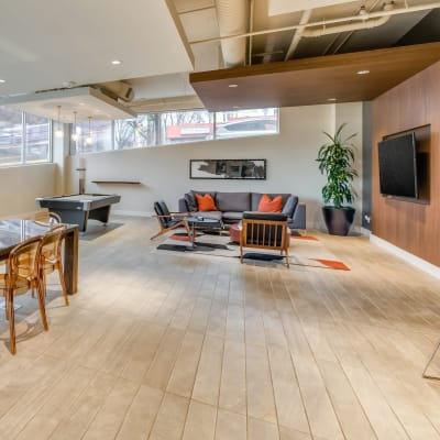Lounge area in the resident clubhouse at Verse Seattle in Seattle, Washington