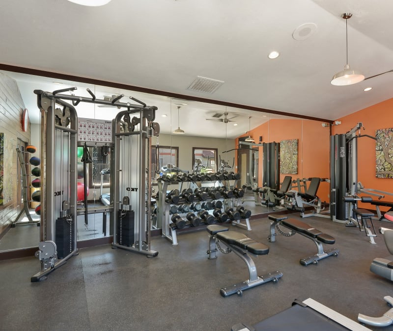 Well-equipped onsite fitness center at 505 West Apartment Homes in Tempe, Arizona