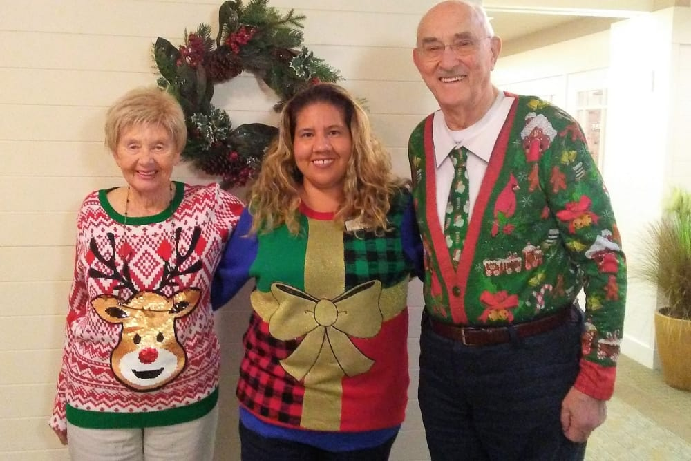 Christmas sweater party at our senior living community in Huntington Beach, CA