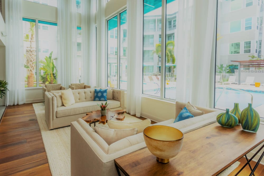Lounge area next to pool area for resident use at 50 Paramount in Sarasota, Florida