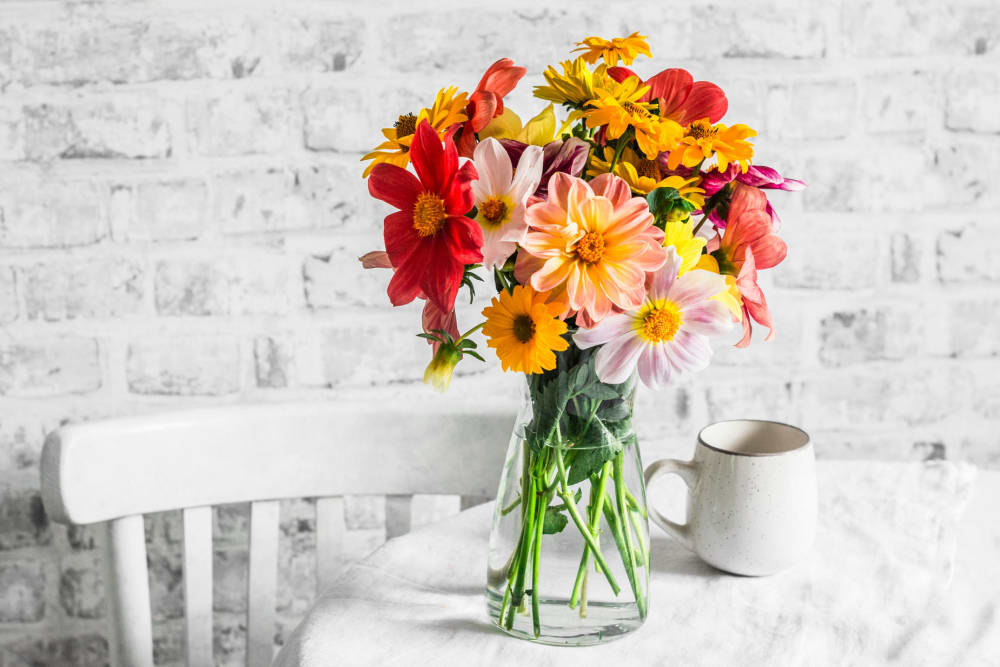 Beautiful bouquet of flowers at Campus Commons Senior Living in Sacramento, California