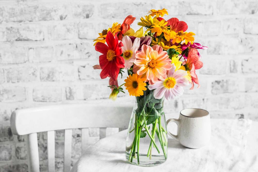 Beautiful bouquet of flowers at Castle Vista Senior Duplex Community in Atwater, California