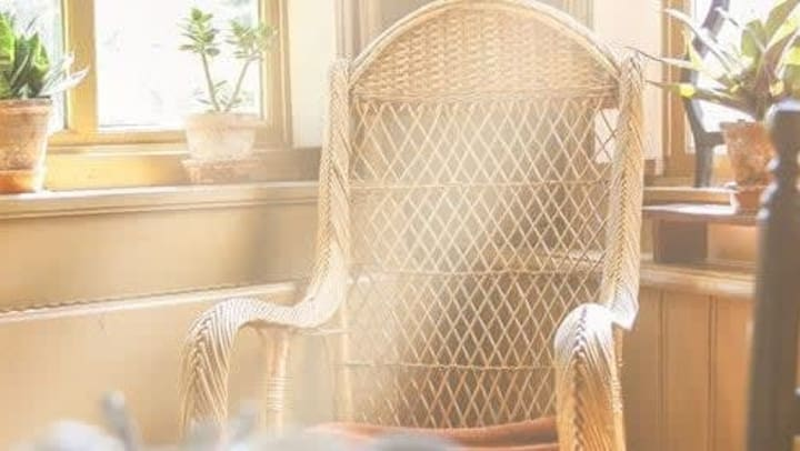 A wooden rocking chair at Harmony