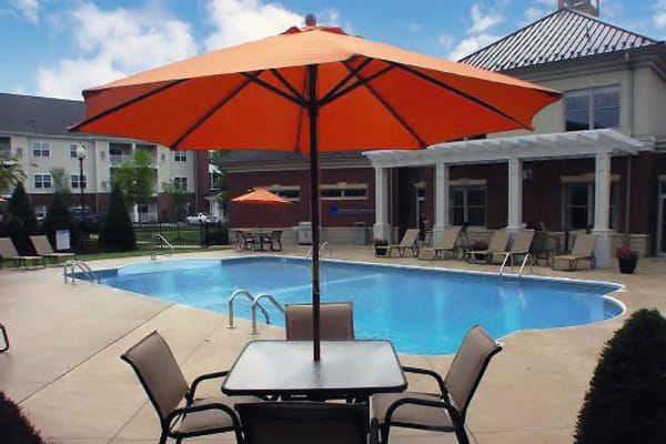 Poolside seating at Marquis Place in Murrysville, Pennsylvania