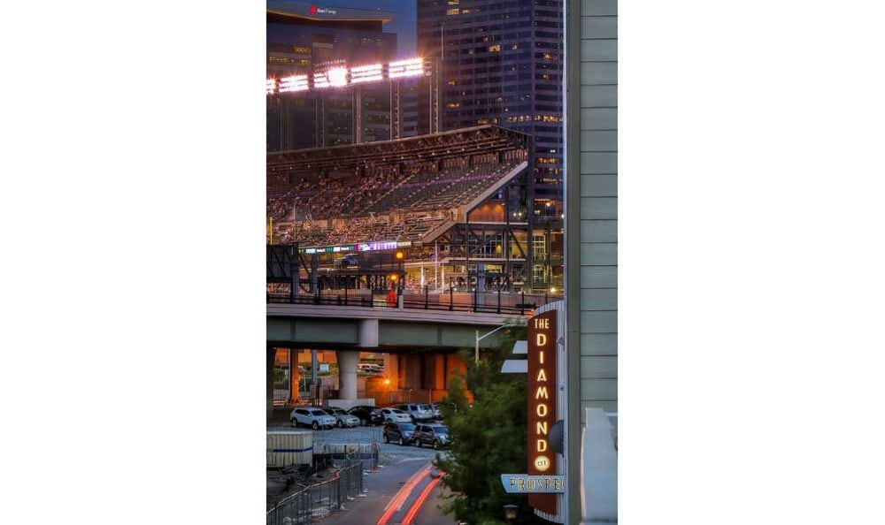 View of the stadium near Diamond at Prospect Apartments in Denver, CO