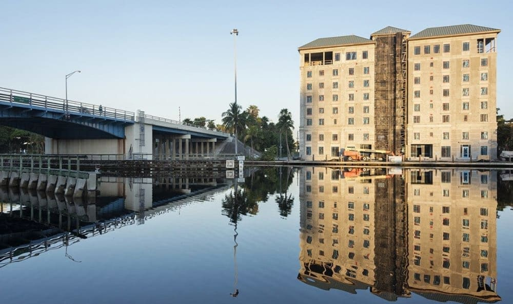 Construction and river views of The Meridian at Waterways in Fort Lauderdale, Florida.,