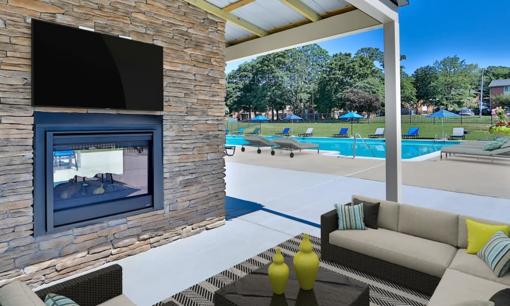 Outdoor Pool Seating Area in Parkville, Maryland