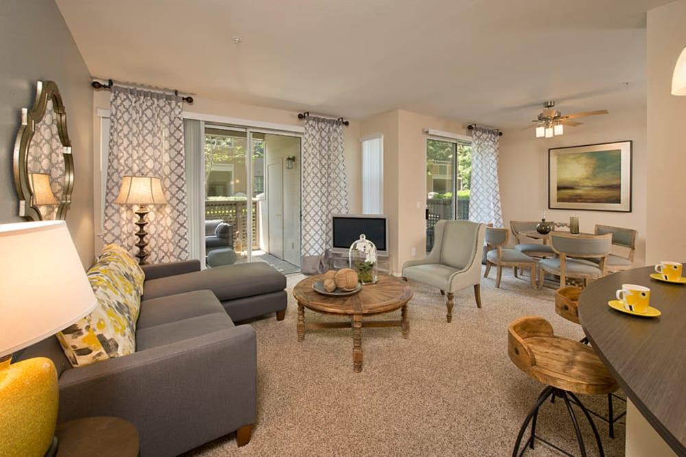 Spacious open concept living room at Rosewalk in San Jose, California
