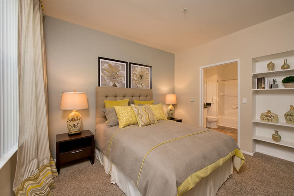 Beautifully decorated bedroom at Rosewalk in San Jose, California