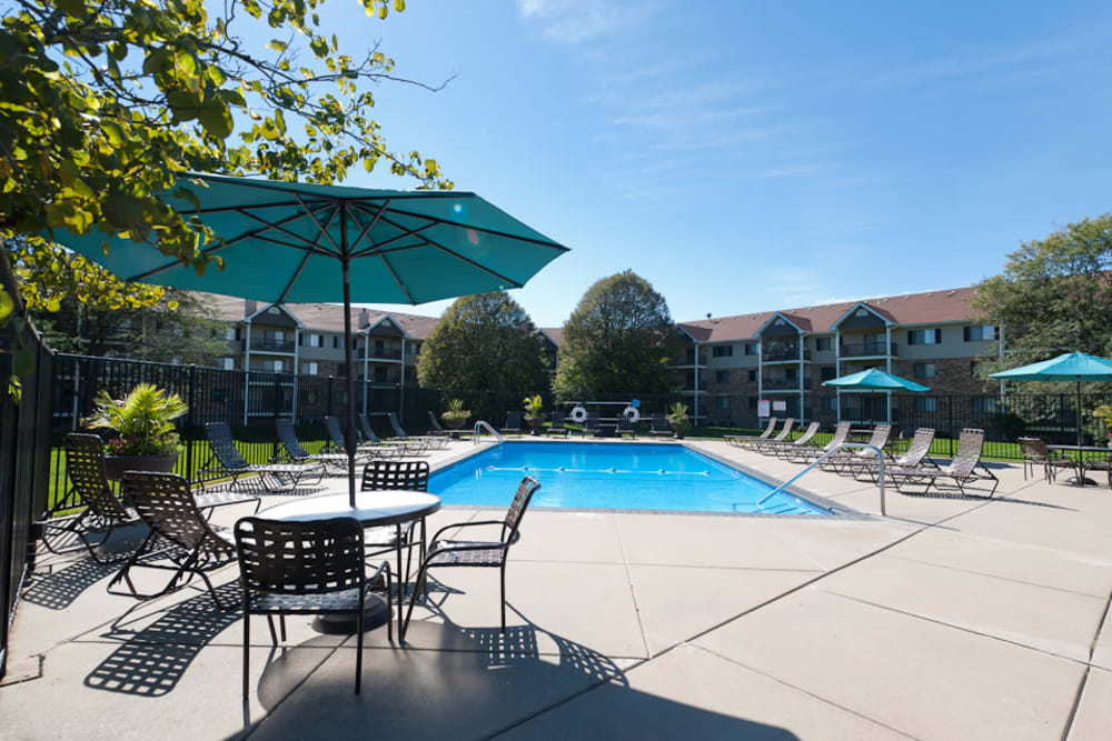 outdoor pool at apartments in West Des Moines, IA
