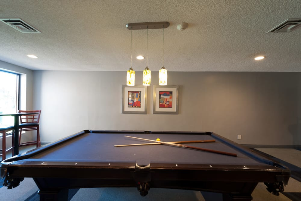 pool table at apartments in West Des Moines, IA