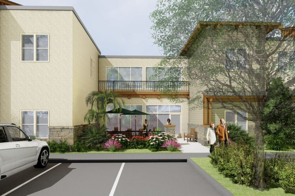 A rendering of outdoor seating at The Oaks at Paso Robles in Paso Robles, California