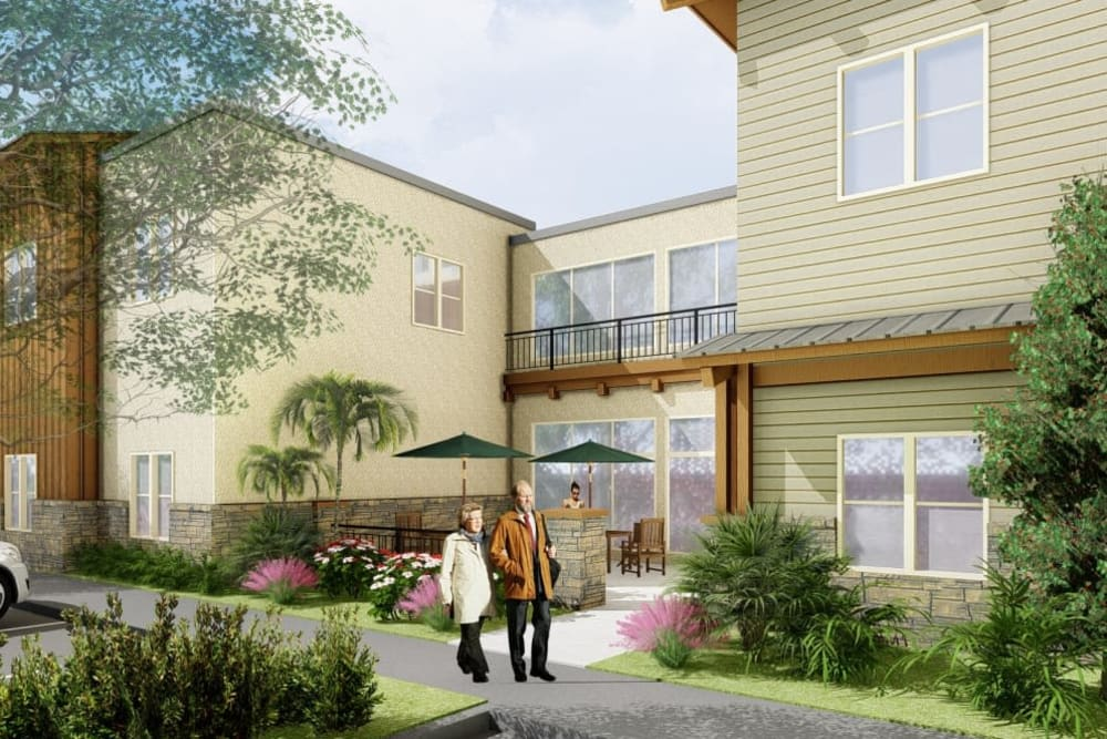 A rendering of residents walking outside of The Oaks at Paso Robles in Paso Robles, California